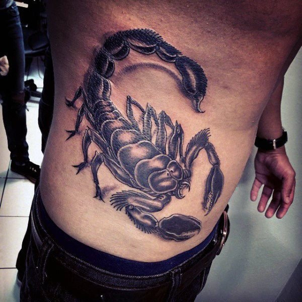 stomach side scorpion tattoo design ideas for men