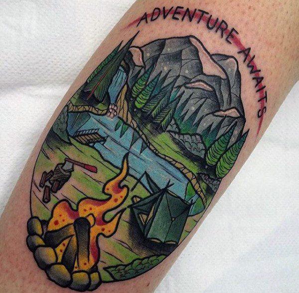 fire tattoo on arm