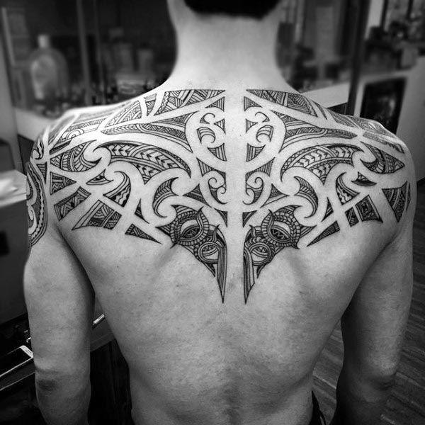 cross tattoos for men on upper back