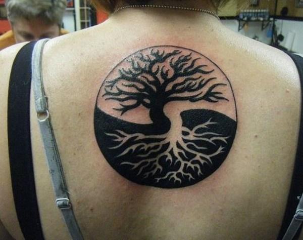 yang yin tattoo tree on back for women