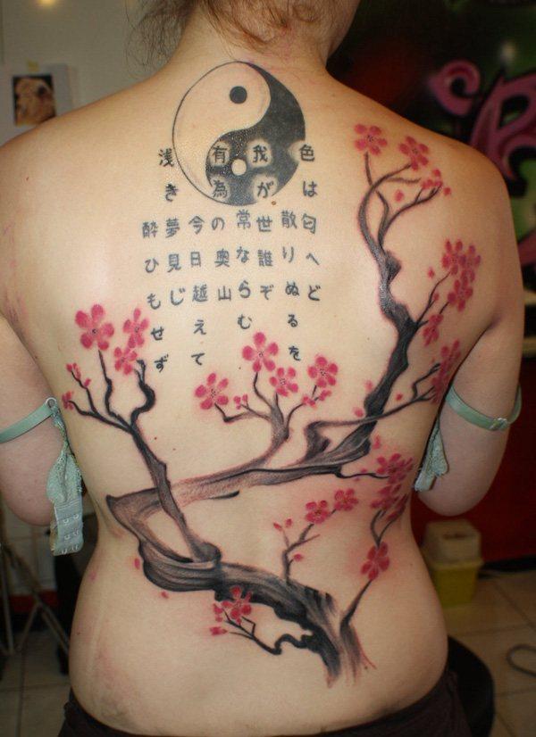japanese yang yin tattoo on women back