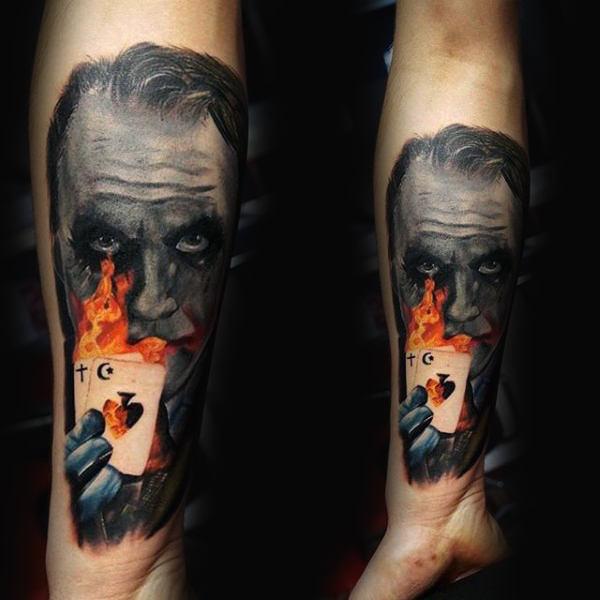 joker flash flame tattoo design ideas