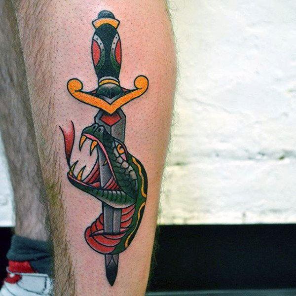 men leg snake tattoo art with sword
