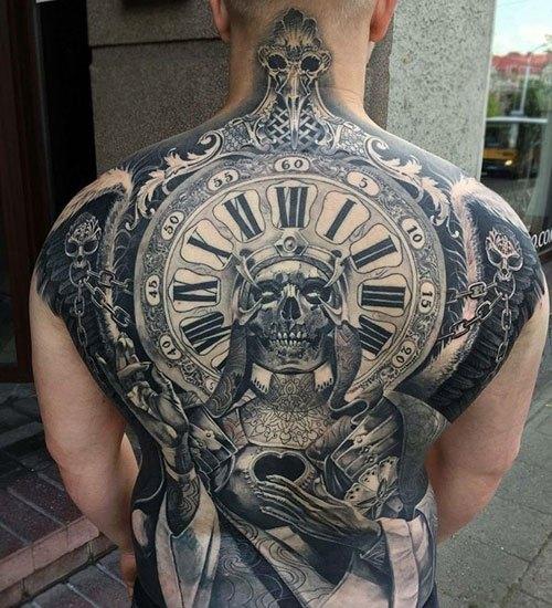 skull mens full back tattoos