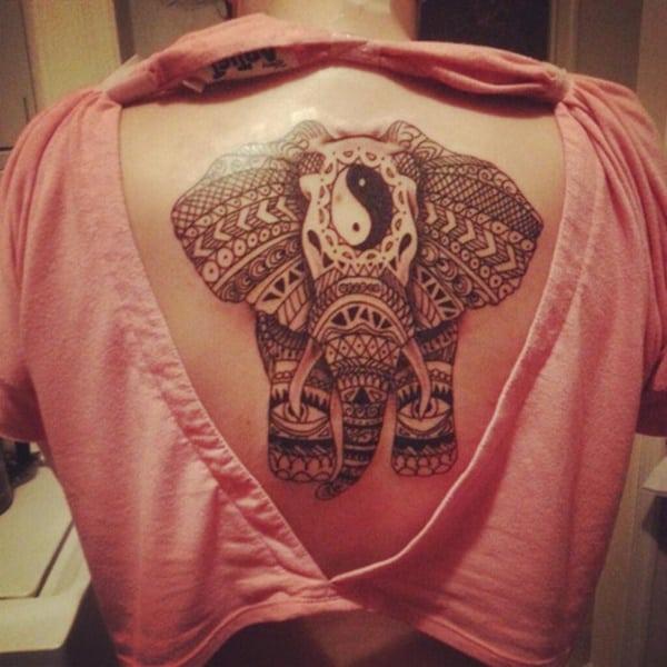 women elephant yin yang tattoo on back  ideas images
