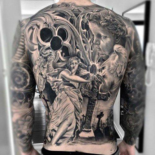 warrior back tattoo design for male
