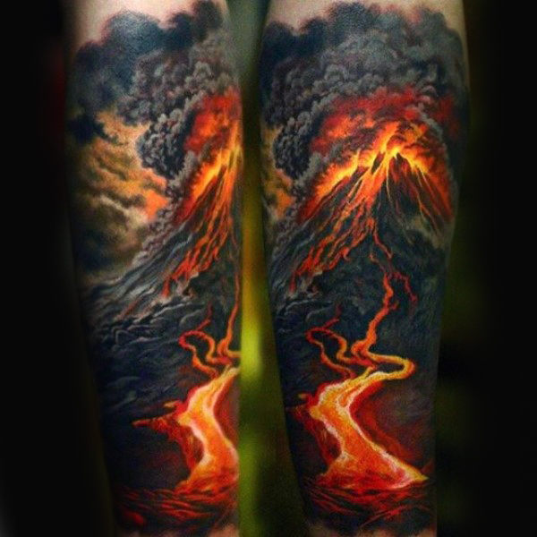 mountain flame fire tattoos designs