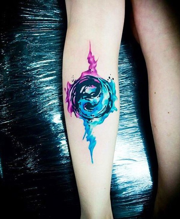 cool yin yang designs for girls women on leg