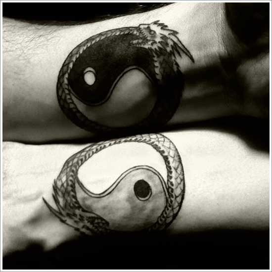 The Yin and Yang are usually done in black and white color