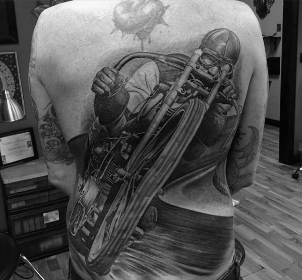 temporary motorbike full back tattoo men and guys