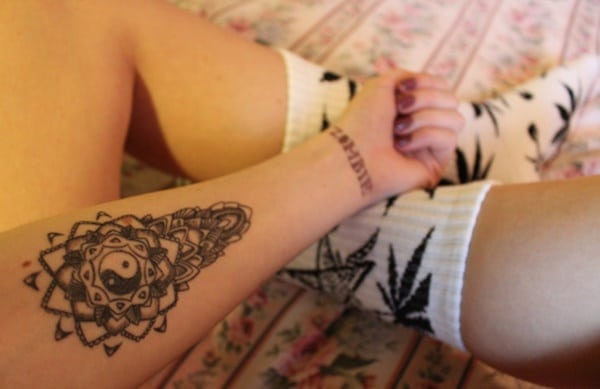 mandala yin and yang koi fish tattoo arm design