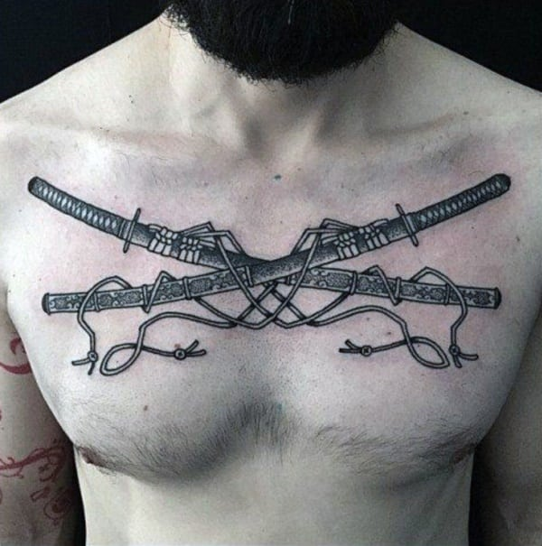 japanese sword tattoo on men chest