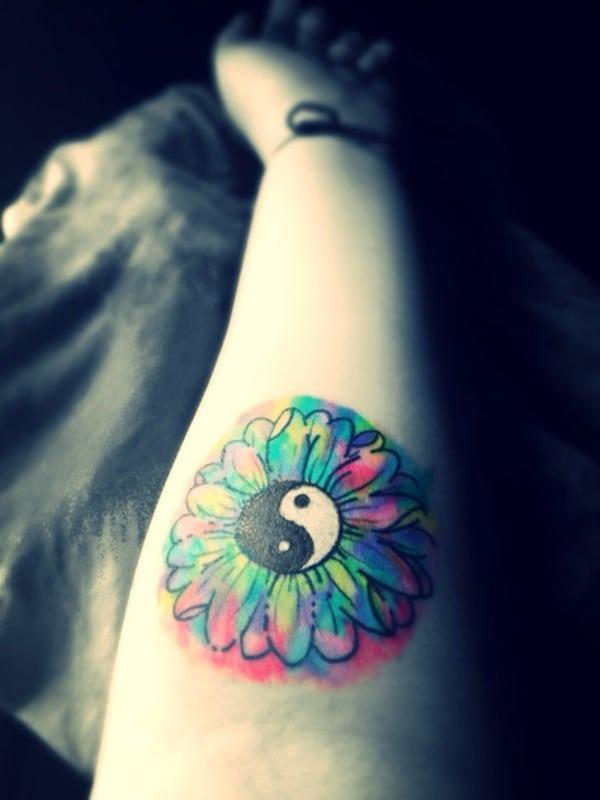 arm colour yin yang dream catcher tattoo