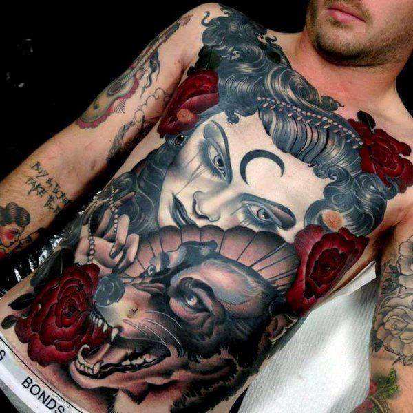 Cool and Amazing men Stomach Tattoo Designs