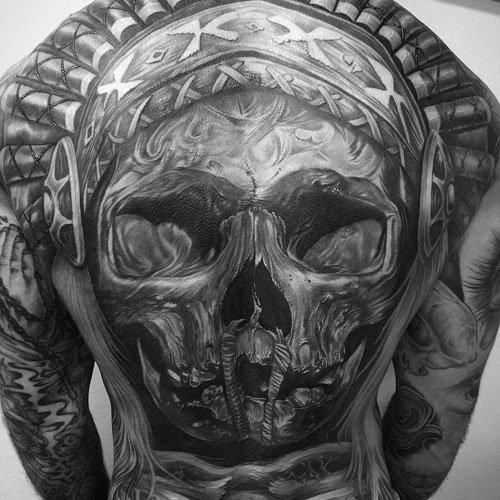 skull full best back tattoos male images