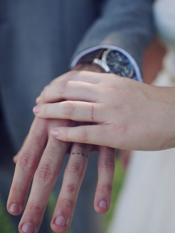 married couple ring finger tattoos line design
