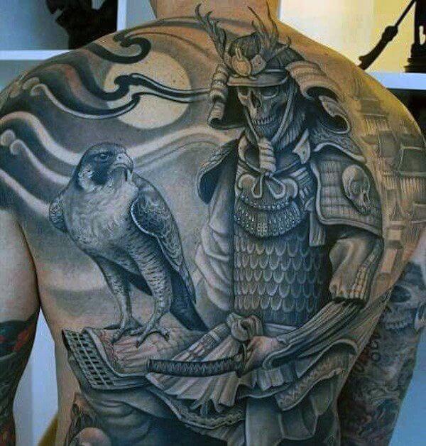 samurai creative body art for guys