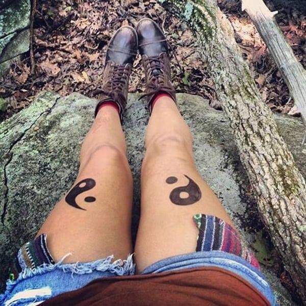 girls leg yin yang temporary tattoo