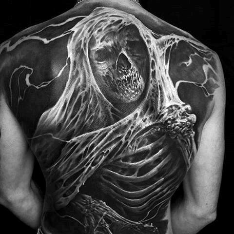 skull full back piece tattoo male