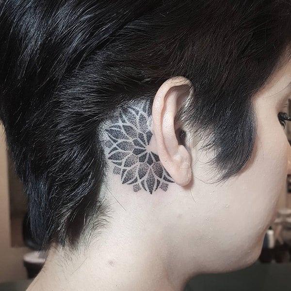 temporary mandala tattoo  behind ear images