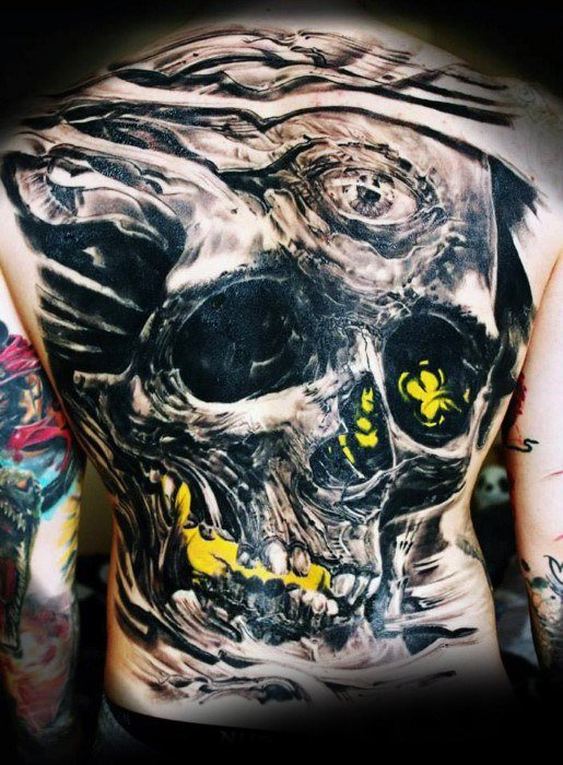 skull  full back tattoos body art