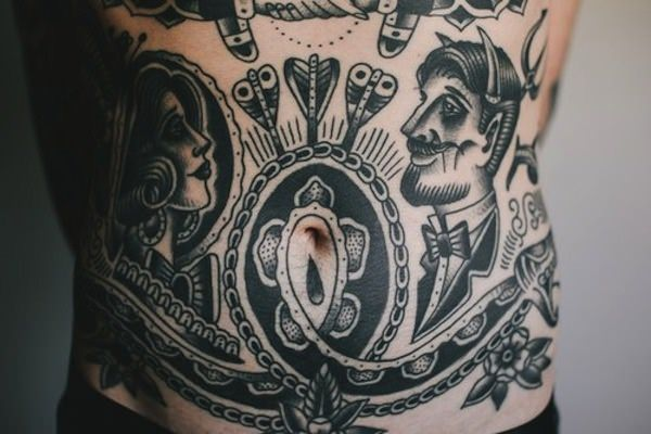 old school belly tattoo for men