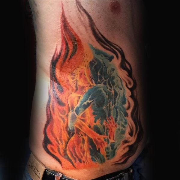 stomach side flesh fire tattoo