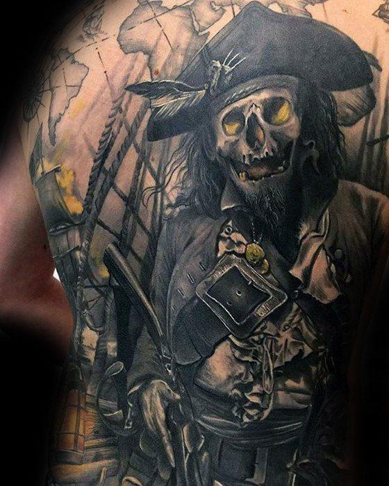 pirate full back tattoos body artwork ideas