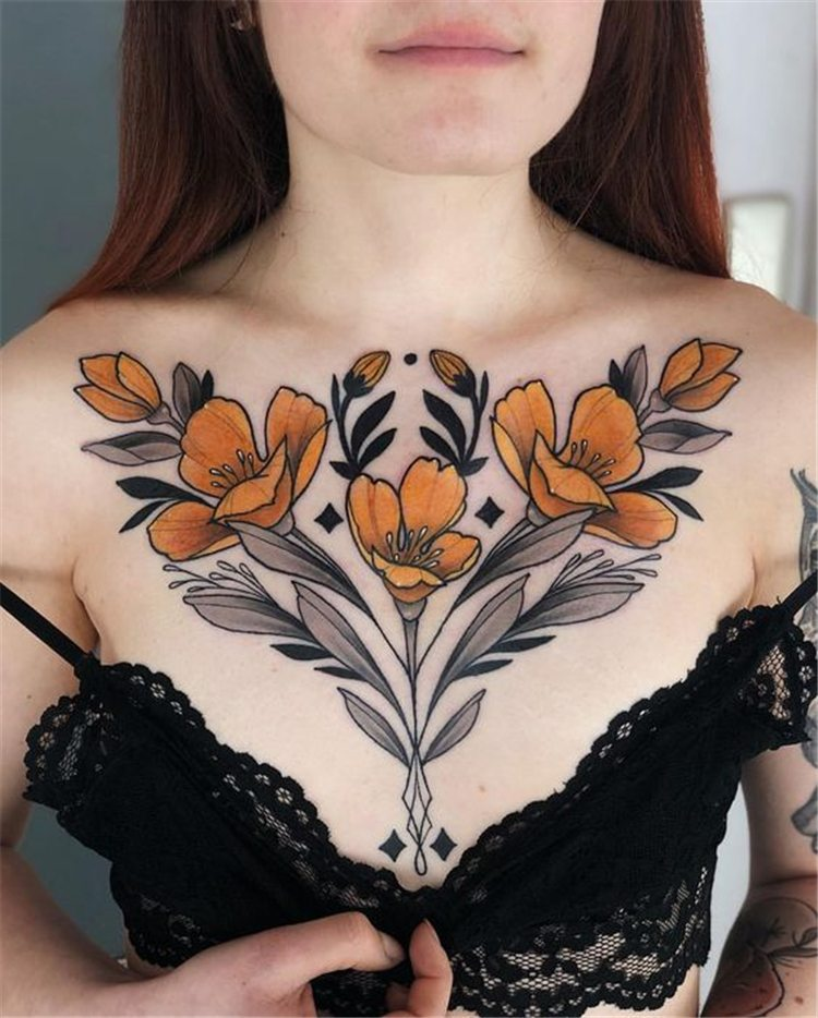 flower front chest tattoos for females