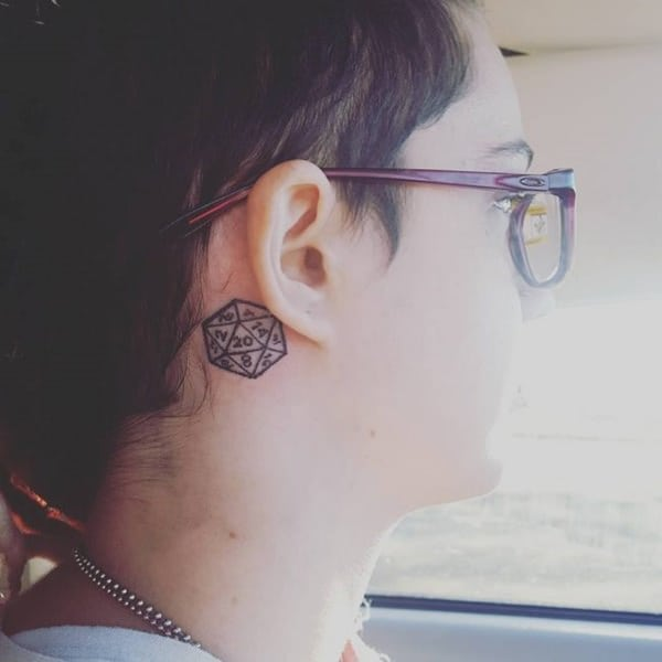 triangle tattoo behind ear pictures