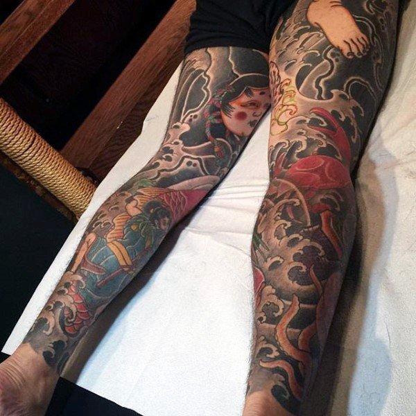 men legs full sleeve tattoo japanese style design