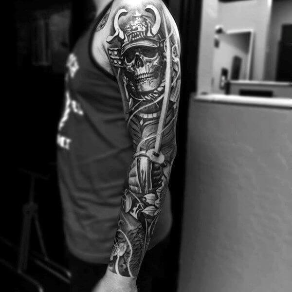 japanese skull images on arm