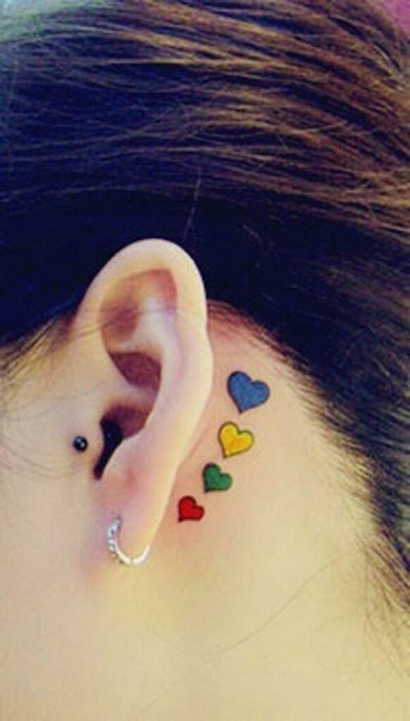 behind the ear girl tattoos heart design images