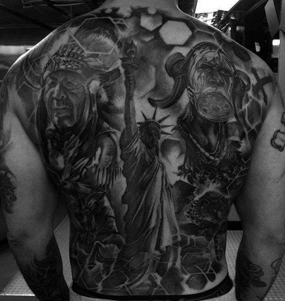 statue  full back tattoos body artwork design