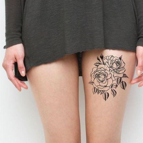 rose thigh tattoos for females