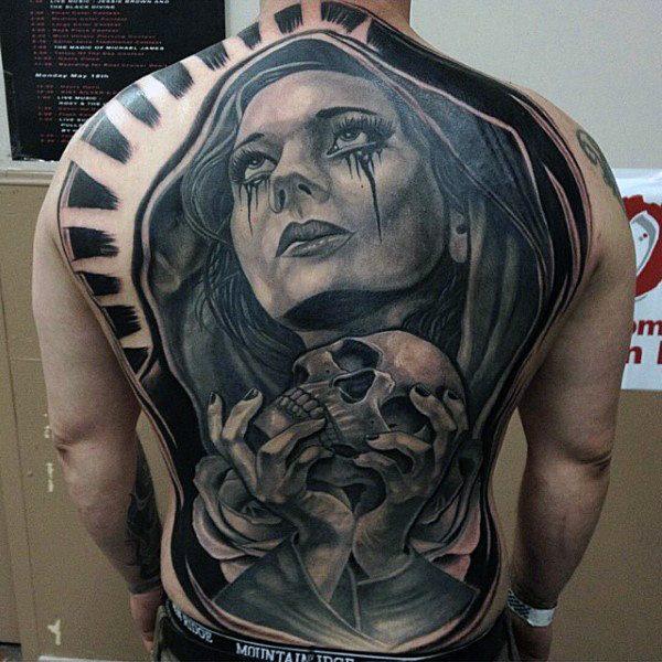 full spine tattoos for guys men design