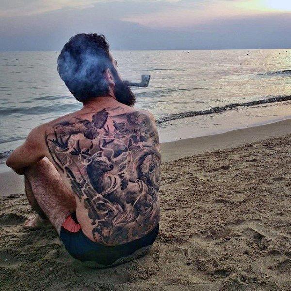 wild animals full back tattoos design for men