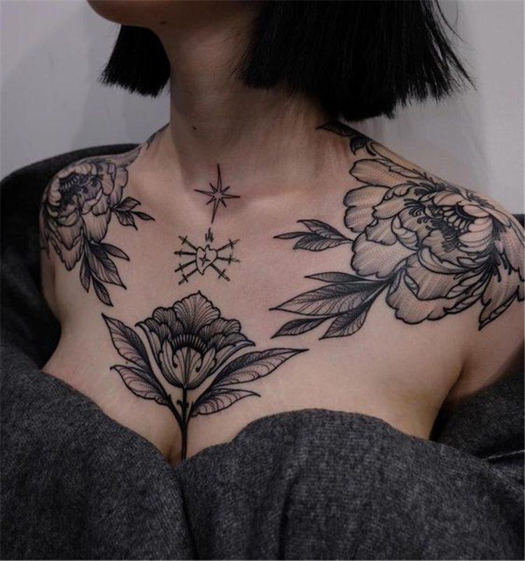 best flower tattoo chest for girl