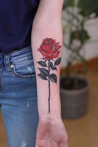red rose tattoos for womens arm images
