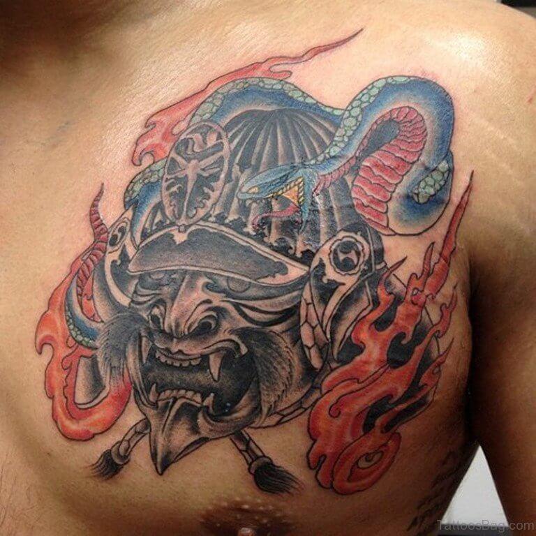 chest dragon japanese warrior tattoo design