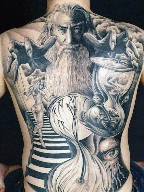 men full back tattoo