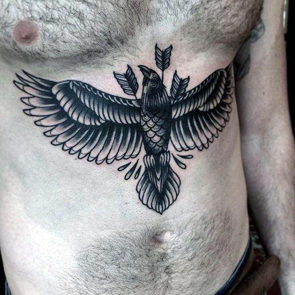 bird stomach tattoo for men ideas