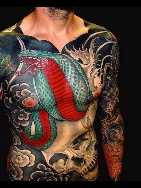 japanese colourful snake tattoo men