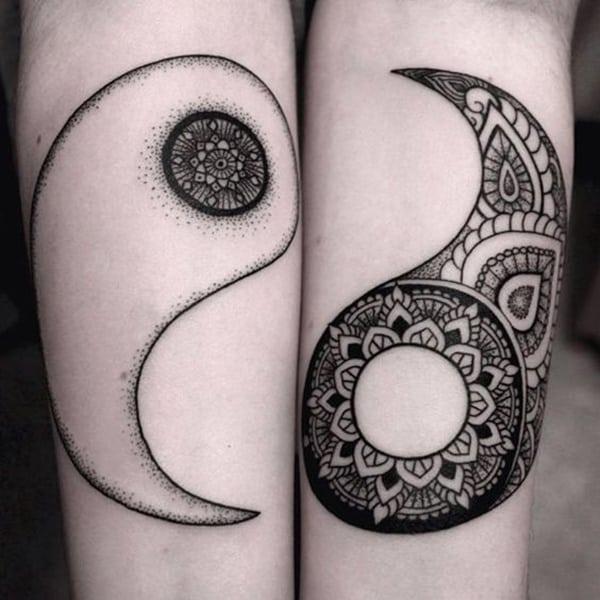 mandala yin and yang symbol tattoo design ideas