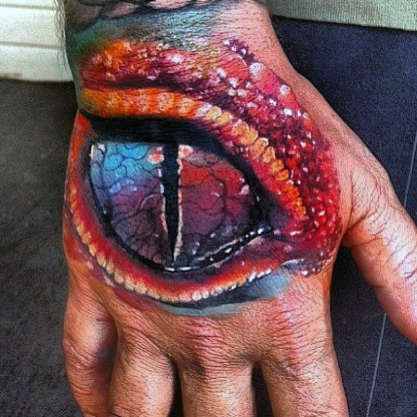 men hand lizard design body art