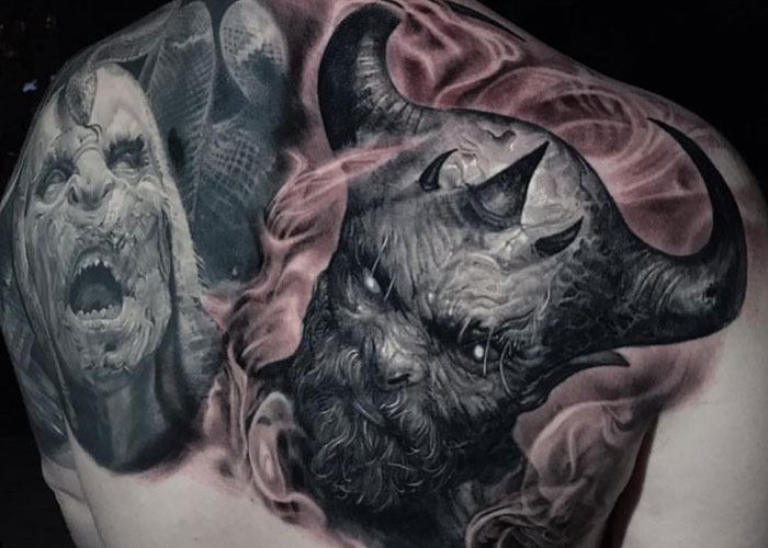 best demon full back tattoos for guys