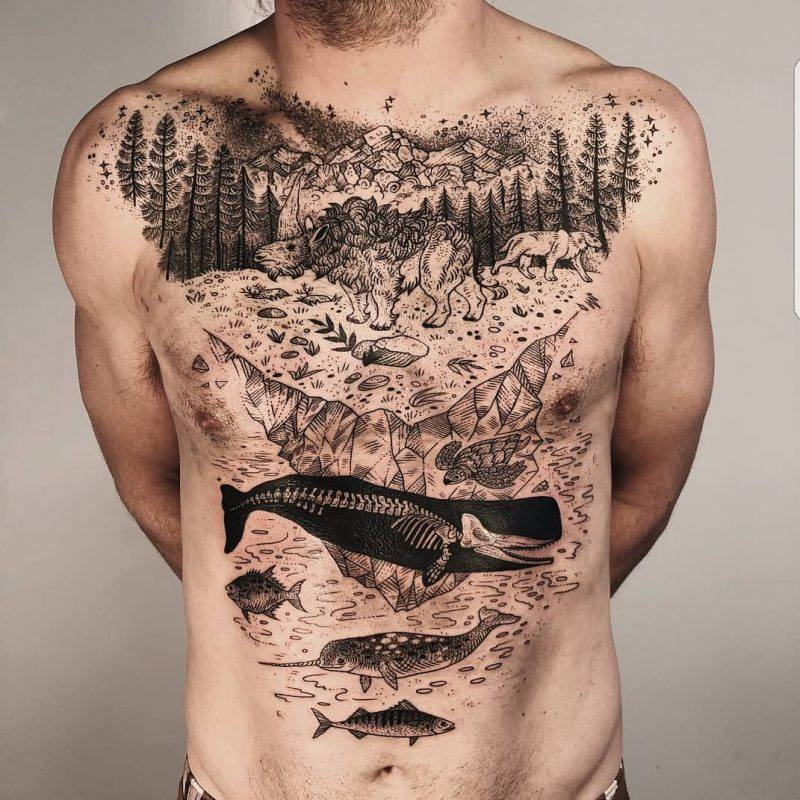 stomach tattoo ideas for guys design
