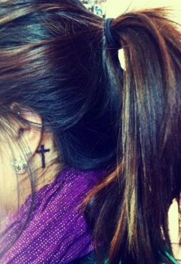 cross tattoo behind the ear for girls women images