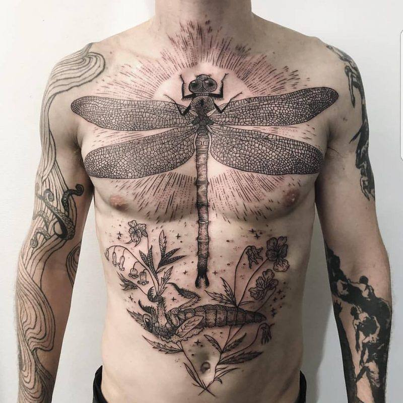 animal men's abdomen tattoos