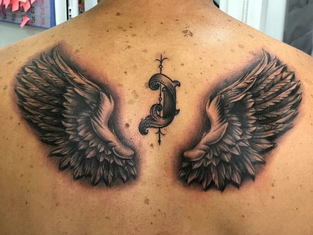 back tattoo angel ideas for men